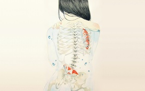 artwork, x, rays, back, skeleton, drawing