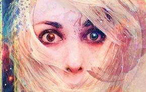 closeup, blonde, eyes, drawing, face, stars