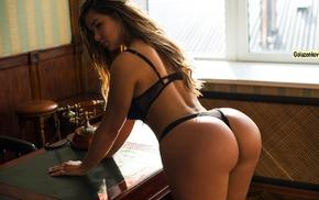 black lingerie, model, bubble butt, ass, Anastasiya Kvitko, Andrew Goluzenkov