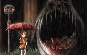 My Neighbor Totoro, little girl, rain, umbrella