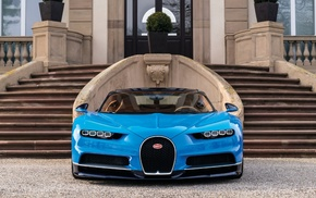 steps, car, Bugatti Chiron, vehicle, blue cars, Bugatti