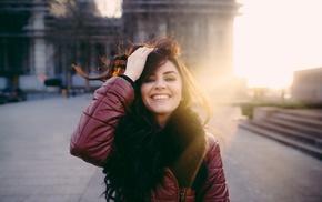 smiling, Aurela Skandaj, portrait, face, girl, model