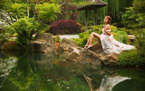 garden, girl, model