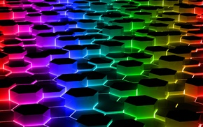 abstract, shapes, colorful, hexagon
