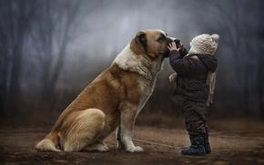 dog, children, forest