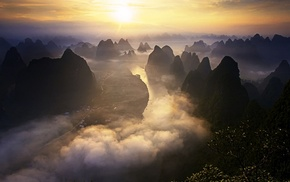 Guilin, road, river, mist, sky, nature