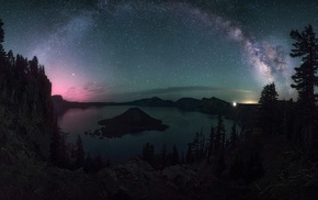 Oregon, dragon, crater lake, landscape, lights, long exposure