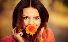 girl, smiling, flowers, eyes