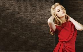 arms up, red dress, girl, looking away, simple background, blonde