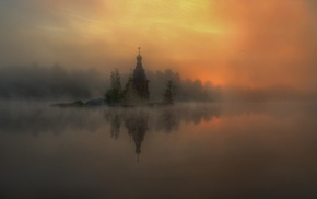 mist, reflection, sunlight, landscape, church, river