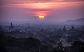 valley, Buddhism, Bagan, mist, temple, sky