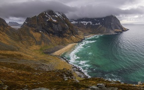 landscape, beach, sea, Lofoten Islands, clouds, sand