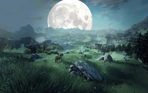 The Legend of Zelda Breath of the Wild, painting, Moon, fantasy art, landscape, rock