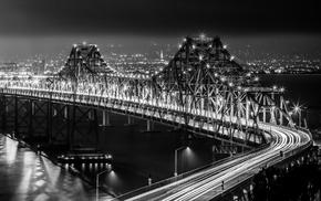 bridge, light trails, monochrome
