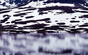 landscape, snow, mountains, reflection, water