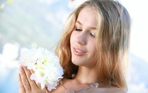 girl, model, flowers