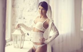 girl, model, lingerie, white, brunette, white lingerie