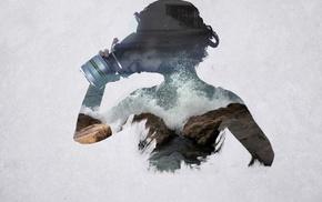 girl, double exposure, photo manipulation, gas masks