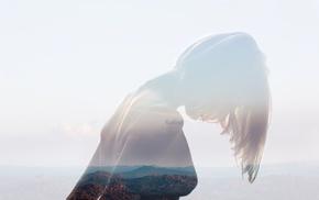 double exposure, girl, photo manipulation