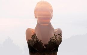 girl, photo manipulation, double exposure