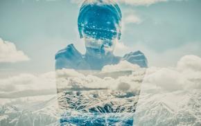photo manipulation, girl, double exposure, mountains