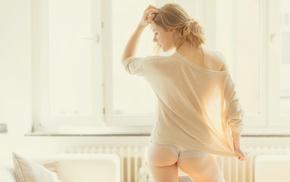 girl, underwear, sweater, natural light, shirt, back