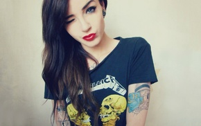 blue eyes, tattoo, Karole Katarina, winking, wink, girl