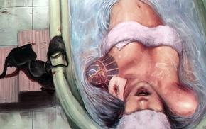 bathing, tattoo, strategic covering, drawing, artwork, bathtub