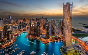 city, water, sky, Dubai