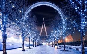 christmas lights, sky, city, trees, path, London