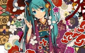 anime girls, Vocaloid, kimono, Hatsune Miku