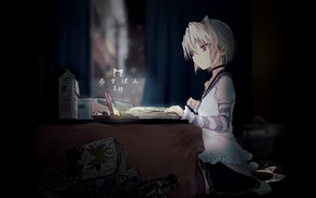 original characters, books, night, table, anime girls