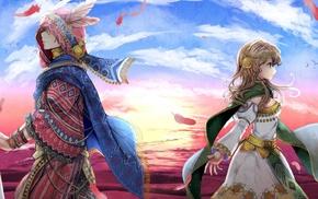 sky, original characters, anime boys, couple, anime girls, painting