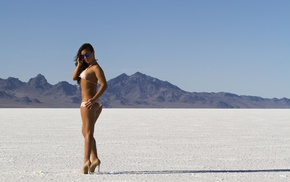 sunglasses, high heels, brunette, desert, bikini, ass