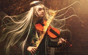 blonde, fire, music, violin, fantasy art