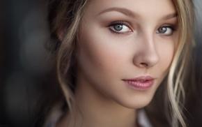 blonde, green eyes, eyes, Maxim Guselnikov, Alice Tarasenko, girl