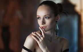 brunette, depth of field, bare shoulders, Maxim Maksimov, Anna Pavlova, face