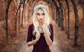 long hair, hat, dress, platinum blonde, girl, Lods Franck