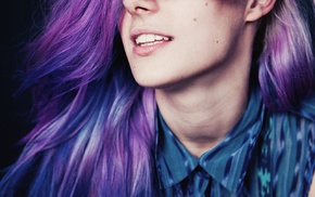 dyed hair, portrait display, face, Chloe Nrgaard, portrait, open mouth