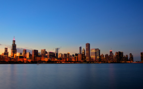 sunset, USA, Illinois, building, lights, city