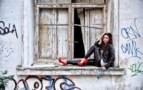 model, window, girl, high heels