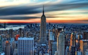 skyscraper, architecture, water, city, New York City, Manhattan