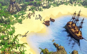 beach, coast, video games, boat, Age of Empires III