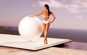 ball, girl, water, long hair, bikini, white bikini