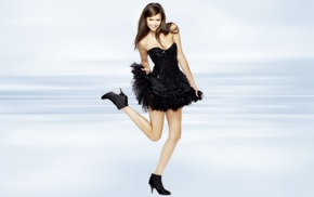 black dress, eyes, long hair, girl, Nina Dobrev