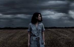 girl, field, storm, looking away