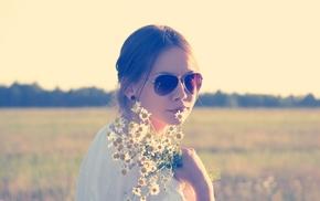 field, sunglasses, flowers, girl outdoors, girl