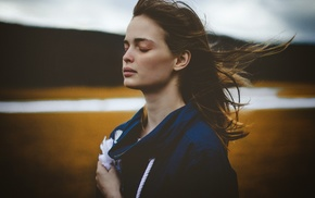 girl, closed eyes, girl outdoors, windy, feathers