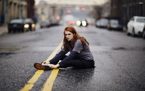 sitting, looking at viewer, girl, depth of field, road, redhead