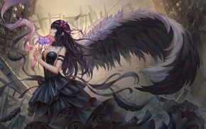 cleavage, Akemi Homura, wings, no bra, dress, anime